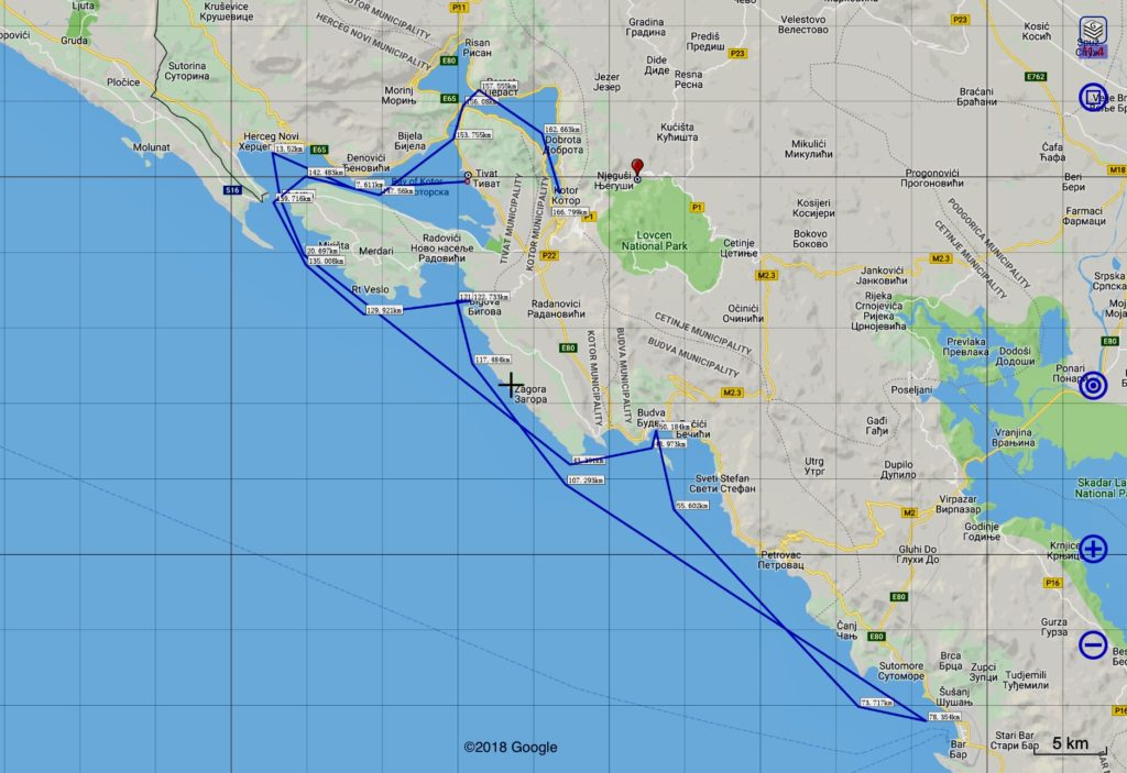 Montenegro sailing route